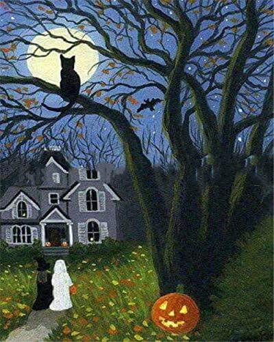 Alesx DIY Öl Fotos Nach Zahlen Halloween Zeichnung Leinwand Handgemalte Malen Nach Zahlen Home Decor-Rahmen