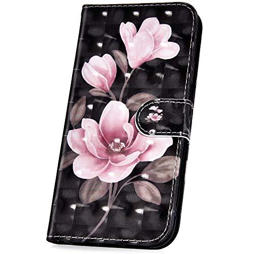 JAWSEU PU lederen portemonnee Flip Case met 3D patroon ontwerp compatibel met Samsung Galaxy A40 Flower-2