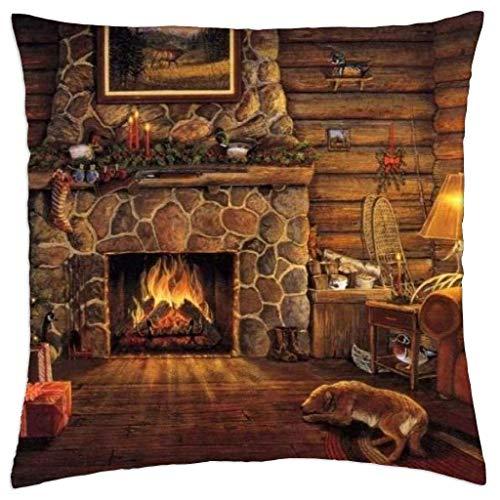 Log Cabin At Christmas - Funda de almohada de tiro 45x45 Cm