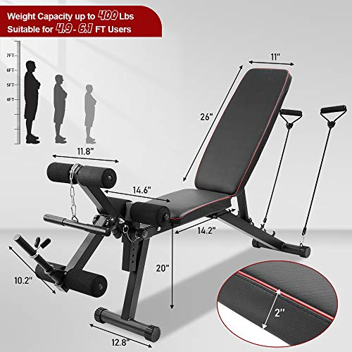 Sandegoo Adjustable Weight Bench for Home Gym, Full Body Workout Strength Training Bench with Leg Extension Pull Ropes, Incline Flat Decline Exercise Equipment
