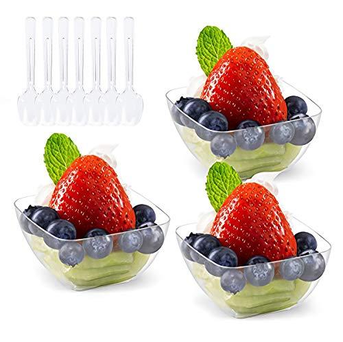 Kingrol - Tazas de postre con cucharas, cuencos desechables de 2 onzas para mousse, pudines, aperitivos, entrantes, Sundaes