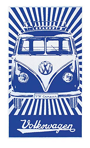 BRISA VW Collection - Volkswagen Furgoneta Hippie Bus T1 Van Gran Toalla de Algodón Suave para Baño, Playa y Sauna como Idea de Regalo/Camping/Outdoor/Souvenir (Rayas/Azul&Blanco)