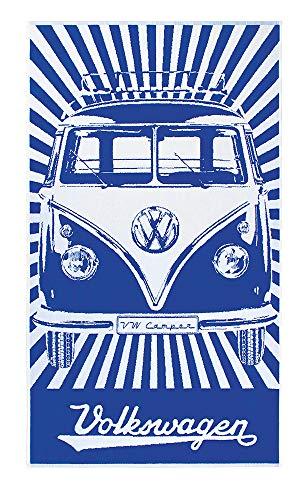 BRISA VW Collection - Volkswagen Combi Bus T1 Camper Van Serviette de Bain-Sauna-Toilette-Plage en Peluche, pour la Piscine/Camping/Vacances/Idée de Cadeau (Rayure/Bleu/Blanc)