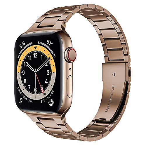 TaiWang Serie Compatible Apple Serie 6 Band Serie, [Ultra Delgada] Banda Ajustable de Acero Inoxidable para la Serie SE de Apple Watch SE 38mm 40 mm (Negro),Vintage Gold,1.4/1.7 Inches