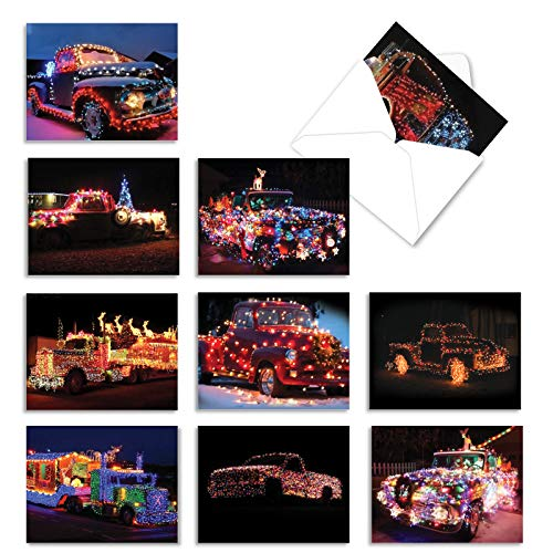 The Best Card Company - 10 Beautiful Christmas Note Cards (4 x 5.12 Inch) - Ornament Photos, Boxed Cards with Envelopes (Not Foil, Sparkled, or 3D) - All Trucked Up M2282