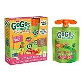 GoGo squeeZ fruit & veggieZ, Pedal Pedal Peach, 3.2 oz. (48 Pouches) - Tasty Kids Snacks Made from Apples, Peaches & Sweet Potatoes - Gluten Free Snacks for Kids - Nut & Dairy Free - Vegan Snacks