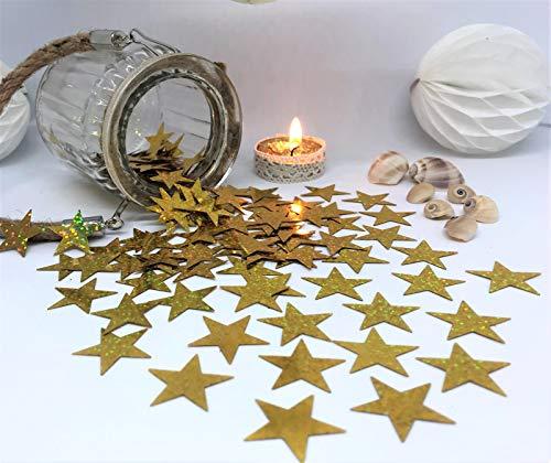 versandhop Konfetti-Sterne Gold-Glitzer Effekt-Konfetti 2,5cm 25mm Groß Basteln Hochzeit Tisch-Dekorieren Metallic Glitzer Party Streu Geburtstag Baby-Party Pinkel-Party 15g