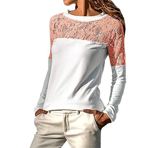 Dorical Oberteile Sexy Langarmshirt Rundhals Tshirt Blusn Tunika Schwarz Lace Oberteile Elegant Top Sexy Solid Tshirt Pullover Elegant Frühling Sommer T-Shirt Tops Oberteile Blusen