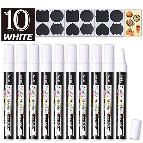 Tebik White Liquid Chalk Markers Set, Pack of 10 White Chalkboard Paint Pens with 12 Chalkboard Labels, 5 Stickers, Perfect for Chalkboards, Bistro Boards, Glass and Metal
