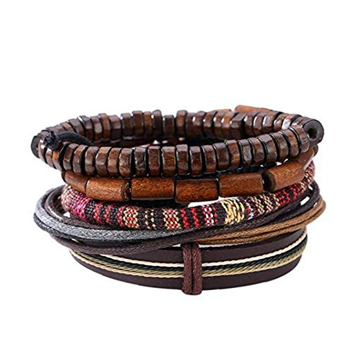 Hotaden Popular Multi-Layer Leather Bracelet with Vintage Hippy Natural Wooden Beads Rope Braided Bangle Cool Leather Wristband Bracelet for Man Woman