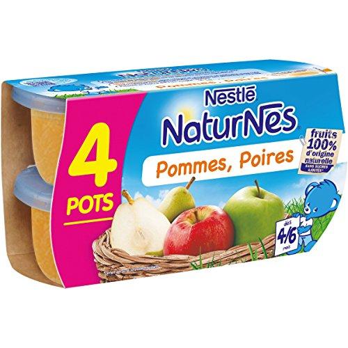 NESTLE NATURNES Compotes Bébé Pommes Poires -Lot de 4 -Dès 4/6 mois