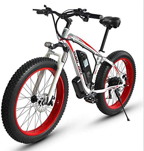 Bicicleta de montaña eléctrica, Bicicleta de montaña eléctrica for adultos, 500W 26 '' Neumáticos de grasa extraíble con bicicleta eléctrica de 48V 15AH de iones de litio, 27 de velocidad y cambio de