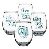 Lillian Rose Lake Set of 4 Stemless Wine Glasses, 18oz, Blue