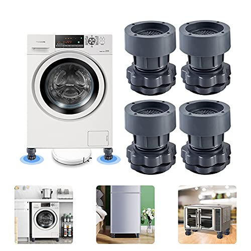 4PCS Shock and Noise Cancelling Washing Machine Support,Washer And Dryer Anti-Vibration Pads,Reduce Noise, Anti Slip,Protect Floor, Washing Machine Foot Pads for All Washing Machine (Regular)