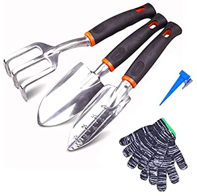 LIKE SHOP Gardening Tool Set - 3 Piece, Aluminum Alloy Hand Trowel, Transplant Trowel and Cultivator Hand Rake for Weeding, Transplanting, Digging with Non-Slip Handle