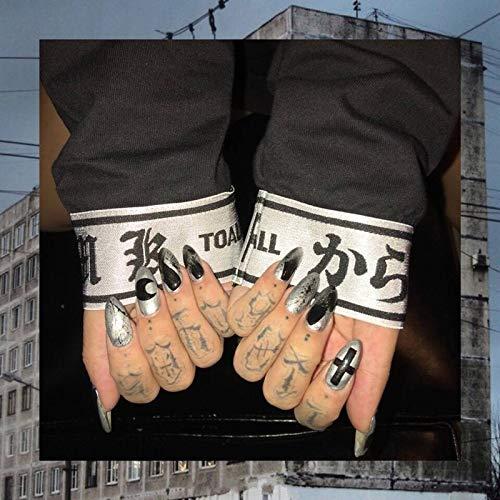 Sethain Glänzend Punk Falsche Nägel Tipps Silber Mond Kreuz Falsche Fingernägel Lange Vollständige Abdeckung 24 STÜCKE Drücken Sie auf Nagel für Frauen und Mädchen