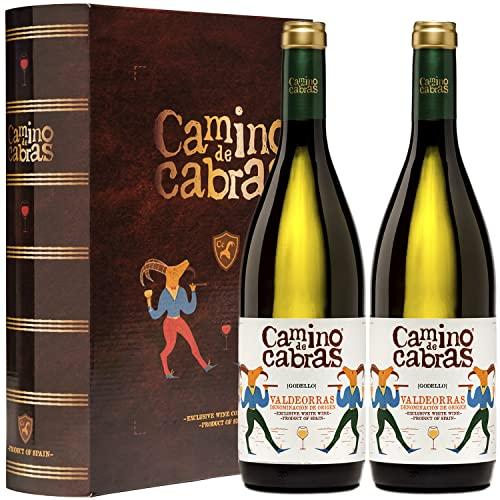 Vino Blanco Godello Valdeorras |Vinos buenos para Regalar | Estuche Vino Gallego | Producto Gourmet | Pack Regalo Vino | 2 Botellas x 750 ml CAMINO DE CABRAS | Regalo original Hombre & Mujer