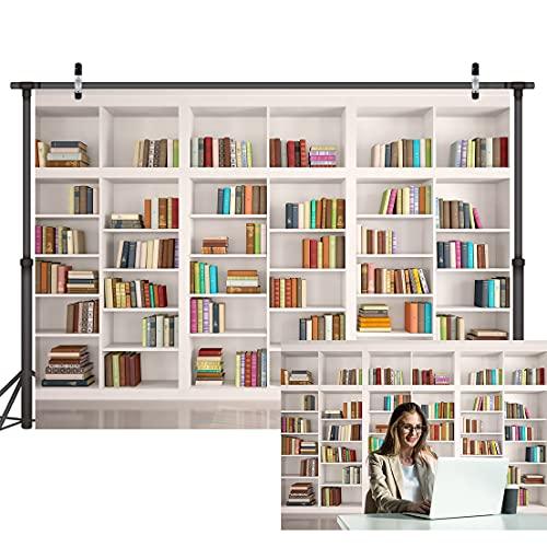LYWYGG 7x5FT Libreria Fondale Libreria Sfondali Libreria Sfondo Ufficio Sfondo per Video Conferenza Vintage Party Libreria CP-259