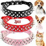 Weewooday 3 Pieces Spiked Cat Collar PU Leather Spiked Puppy Collar Mushroom Cat Collars for Cats Puppy Dogs (Black, Red, Pink, XS Size)