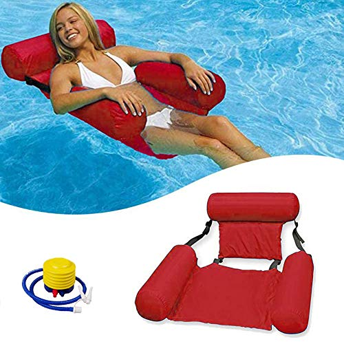 Meijubol Aufblasbares Schwimmbett Schwimmende Wasser Hängematte Poolsitze Liege 4-in-1 Ultrabequeme Loungesessel Pool Tragbare Lounge luftmatratze Stühle