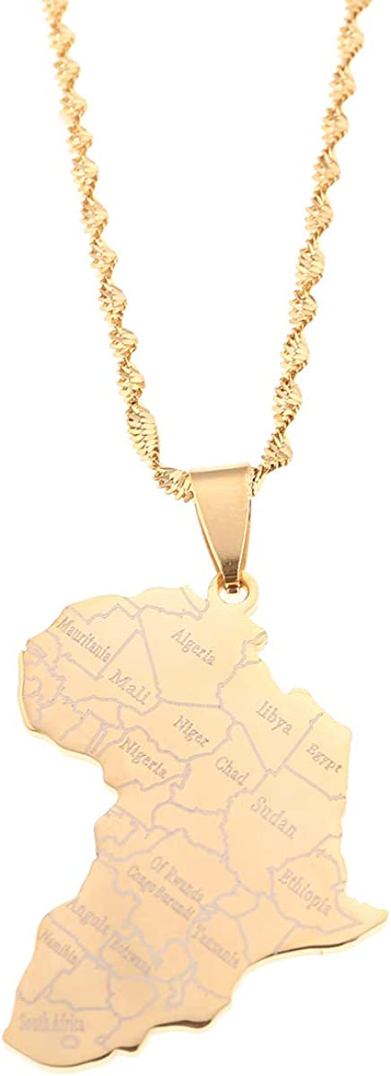 Stainless Steel Map of Africa Country Pendant Necklace Men Women Hip Hop African Jewelry