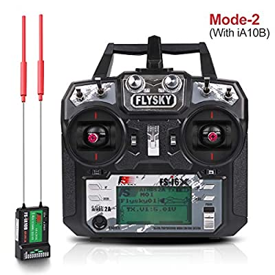 Flysky FS-i6X 10CH Radio Transmitter + Flysky ia10B RC Receiver (2.4GHz, AFHDS 2A, RC Transmitter) for FPV Racing RC Drone Quadcopter by (MODE-2 Left Hand Throttle)