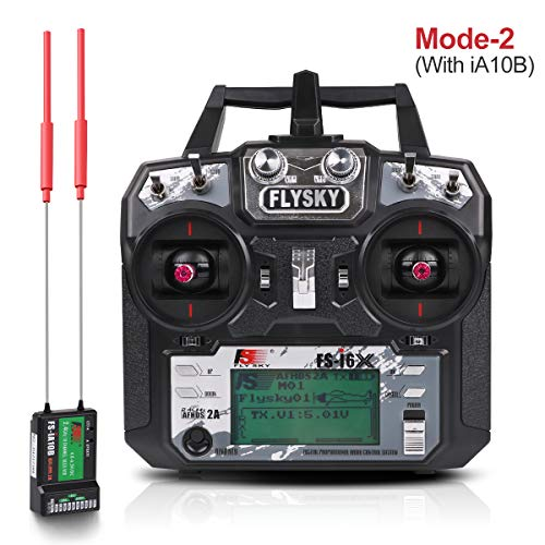 Flysky FS-i6X Sender (10CH, 2.4GHz, AFHDS 2A) RC Transmitter TX Mit iA10B Empfänger for FPV Racing RC Drone Quadcopter by LITEBEE (Modus-2 Left Hand Throttle)