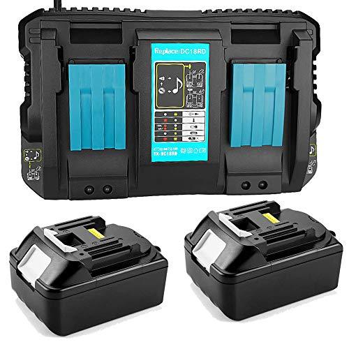 2 baterías de repuesto de 18 V 5,0 Ah para Makita BL1850 BL1840 BL1830 con cargador doble 4 A DC18RD