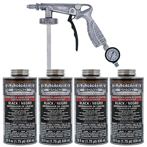 Custom Shop Barrier Bond Black Rubberized Undercoating Sound Deadener Kit with 4 Quart Cans & Spray Applicator Gun Included with Kit