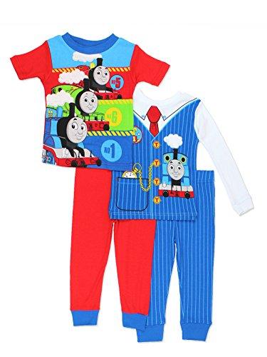 Thomas & Friends Toddler Boys 4 Piece Cotton Pajamas Set (5T, Red/Blue)