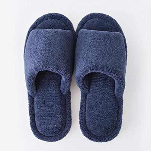 Pantuflas Lindas,Zapatillas de interior con punta abierta para el hogar para mujer,zapatos antideslizantes para el hogar de pareja,zapatillas de felpa para cuatro estaciones,hombres,azul,EU42-43