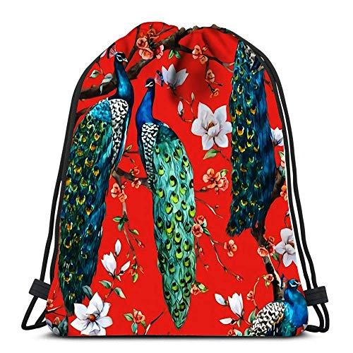 N / A Kordelzug Taschen Rucksack Schöne Aquarell Raster Pfau Travel Gym Taschen Rucksack Umhängetaschen 36 x 43 cm / 14,2 x 16,9 Zoll