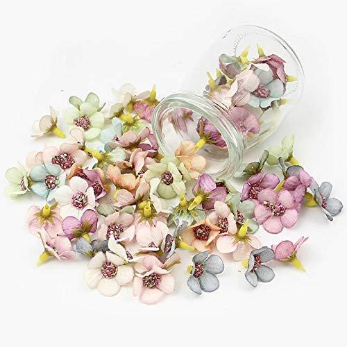 XunHe - Set di 100 mini fiori artificiali in seta da 2 cm, per matrimoni, feste, casa, giardino, fai da te, ghirlande e capelli da sposa (multicolore)
