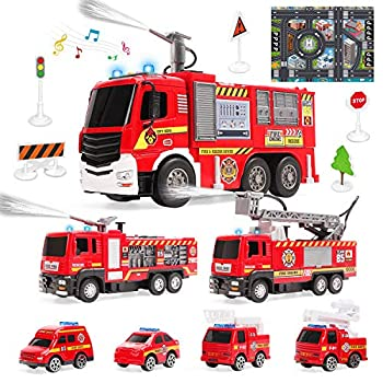 7 Pack Fire Trucks with Water Spraying Function Fireman Toy Firetrucks with Sound and Light Pull Back Cars Friction-Powered Vehicles Birthday Gift for Toddlers and 3+ Year Old Boys