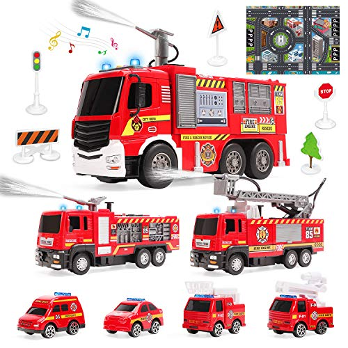 7 Pack Fire Trucks with Water Spraying Function, Fireman Toy Firetrucks with Sound and Light, Pull Back Cars, Friction-Powered Vehicles, Birthday Gift for Toddlers and 3+ Year Old Boys