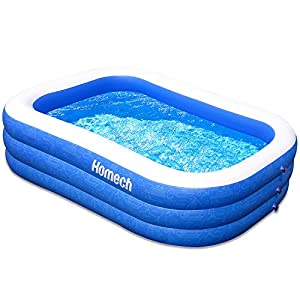 Homech Family Inflatable Swimming Pool, 120″ X 72″ X 22″ Full-Sized Inflatable Lounge Pool for Baby, Kiddie, Kids, Adult, Infant, Toddlers for Ages 3+,Outdoor, Garden, Backyard, Summer Water Party