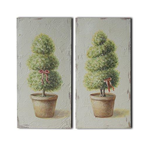 CVHOMEDECO. Cuadro de bonsái pintado a mano en relieve con marco de madera para decoración de pared, 15,2 x 30,5 cm, juego de 2 unidades.