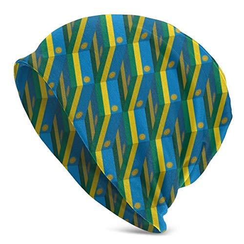 XCNGG Rwanda Flag 3D Art Pattern Beanie Men Women - Unisex Winter Summer Warm Cuffed Plain Slouchy Skull Daily Knit Hat Cap Black