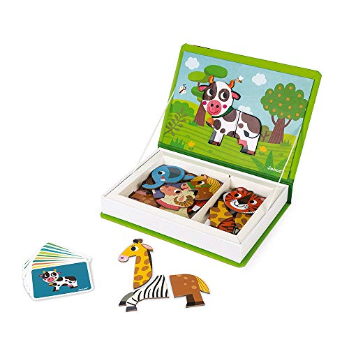 Janod MagnetiBook 41 pc Magnetic Animal Mix and Match Game for Creativity and Motor Skills - Book Shaped Travel/Storage Case Included - S.T.E.M. Toy for Ages 3+