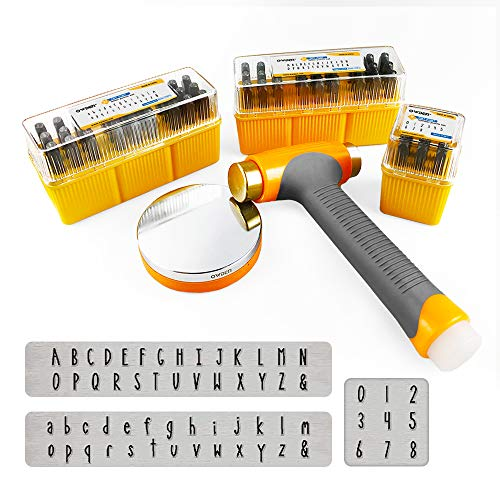 OWDEN Metal Stamps for Jewelry Making, Art Font Uppercase Letter Punch Set and Art Font Lowercase Letter Punch wtih 1 Set Number Punch Set Size:1/8',3mm Stamps Hammer and Steel Bench Block