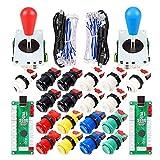 Avisiri 2 Player Arcade Joystick DIY Parts 2x USB Encoder + 2x Elliptical Joystick Hanlde + 18x American Style Arcade Buttons for PC, MAME, Raspberry Pi, Windows (Mix Color Kit)