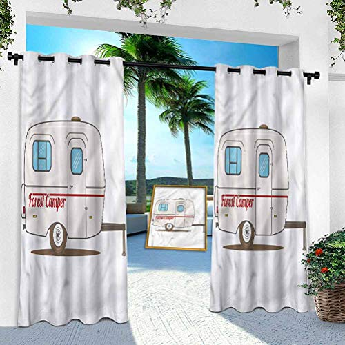 Aishare Store Patio Outdoor Curtain, Camper,Forest Camper Van Travel, W 52' x L 108' Heavy Duty Indoor Panel for Porch Balcony Pergola Canopy Tent Gazebo Window(1 Panel)