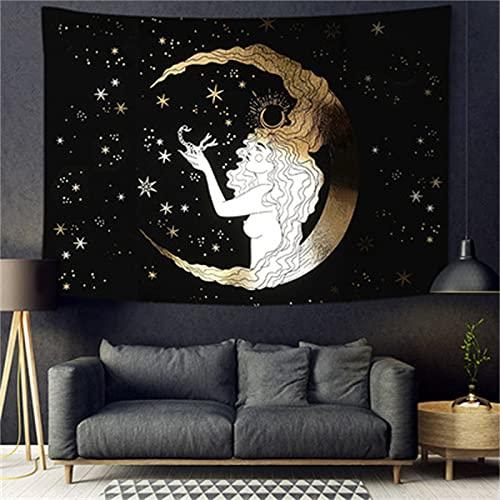 YYRAIN Mujer Bajo La Luna Negra Y Amarilla Tapiz Toalla De Playa Hotel Café Colgante De Pared Dormitorio Mesita De Noche Tela De Fondo