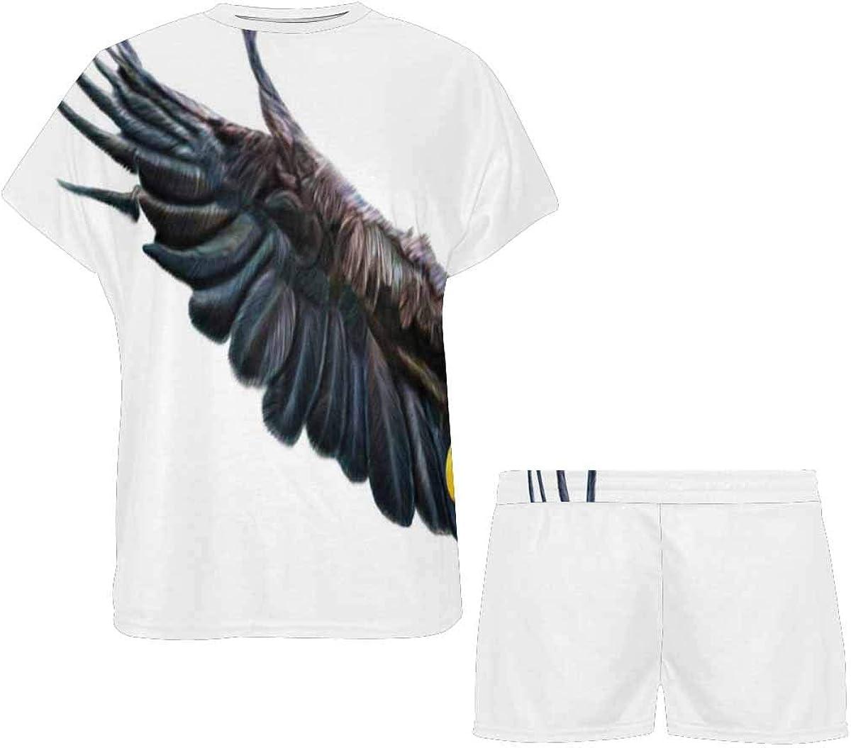 INTERESTPRINT Bald Eagle Flying Carrying US Flag Women's Pajamas Short Sets Round Neck Short Sleeve Sleepwear