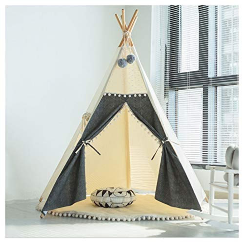 Kid Tent Indoor Children's Play Tent, Indian Style Small Teepee, 5 Solid Wood Brackets are Easy to Install, Christmas and Birthday Gifts, 130x165cm (Color : Style 4, Size : With mat)