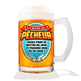 Les Trésors De Lily [A1068 - Chope à bière Humoristique 'Pêcheur' (Verre) - 15 cm (50 cl)