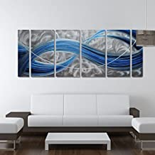 Winpeak Pure Handmade Blue Dream Metal Wall Art Painting Home Decor Abstract Modern Sculpture Contemporary Decorative Six Panels Aluminum Artwork Ready to Hang