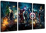 Marvel Helden 3-Teilig auf Leinwand, XXL riesige Bilder fertig gerahmt mit Keilrahmen, Kunstdruck...