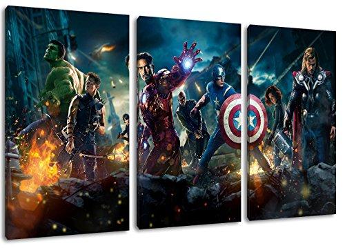Marvel Helden 3-Teilig auf Leinwand, XXL riesige Bilder fertig gerahmt mit Keilrahmen, Kunstdruck auf Wandbild mit Rahmen