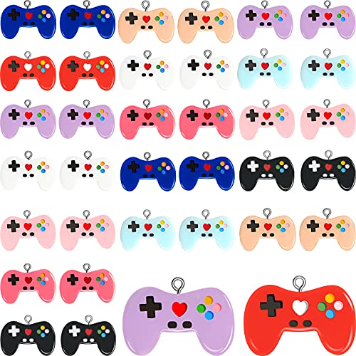 72 Pieces Video Game Controller Charms Colorful Video Game Resin Pendants Gaming Controller Handle Pendant Charms for DIY Keychain Making Jewelry Necklace Earrings Bracelets, 9 Colors